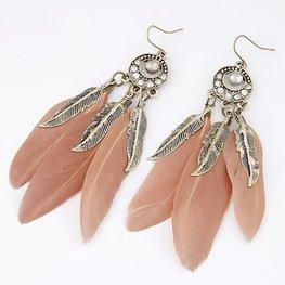Veren oorbellen brons/roze