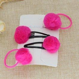 Setje haar speldjes/elastiekjes met bontballetje - Roze