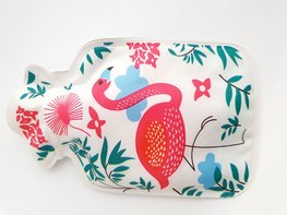 Handwarmer / mini kruik -  Wit/Flamingo