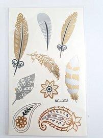 Flash tattoos veer goud/zilver