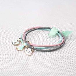 Haar elastieken met bedels - roze/blauw/grijs