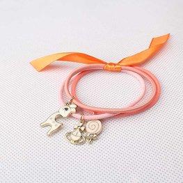 Haar elastieken met bedels - roze/oranje