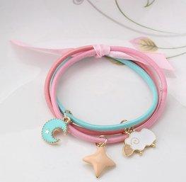 Haar elastieken met bedels - roze/oranje/Blauw
