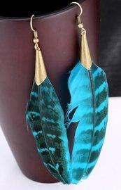 Veren oorbellen brons/blauwgroen