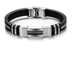 Heren armband rubber met staaldraad