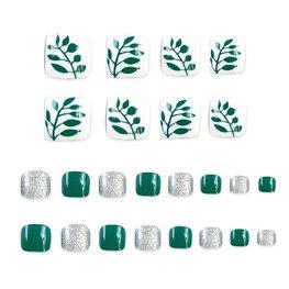 Nep teen nagels - Groen/Wit/zilver