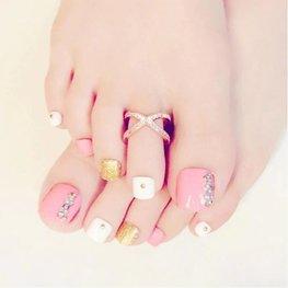 Nep teen nagels - Roze/Goud