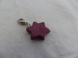 Handmade ster bedel - metallic roze