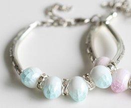 Armband keramiek kraal blauw/wit