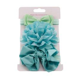 Elastische baby/kinder haarbanden set van 3 stuks - Groenblauw