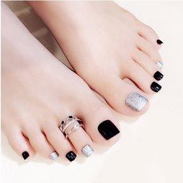 Nep teen nagels - Zwart/zilver glitter