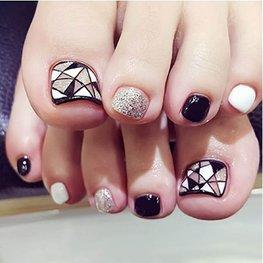 Nep teen nagels - zwart/wit/champagne glitter