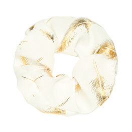 Scrunchie golden feather wit