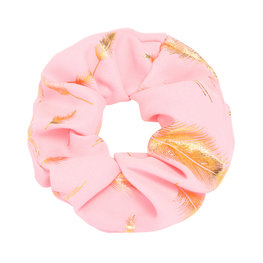 Scrunchie golden feather roze