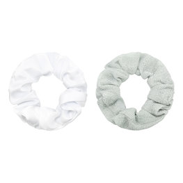 Scrunchie set glitter - Wit/Zilver