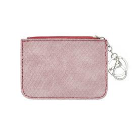 Mini portemonnee snake skin met sleutelring - Roze rood