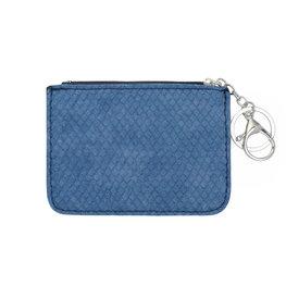 Mini portemonnee snake skin met sleutelring - Blauw