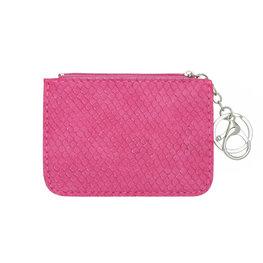 Mini portemonnee snake skin met sleutelring - Roze