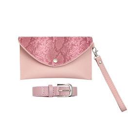 Kleine tas/Heup tas met riem snake - Roze