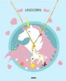 Eenhoorn/unicorn ketting met gift card - Roze/wit