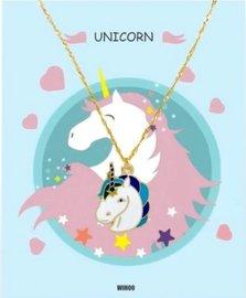 Eenhoorn/unicorn ketting met gift card - Blauw