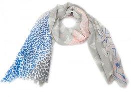 Sjaal aztek-stars-animal motief -blauw/grijs/roze