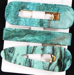 Set van 3 haarspelden - Groen