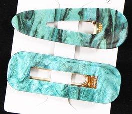 Set van 2 haarspelden - Groen