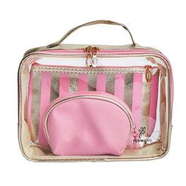 Make-up tassen set 3 delig - Roze/Goud