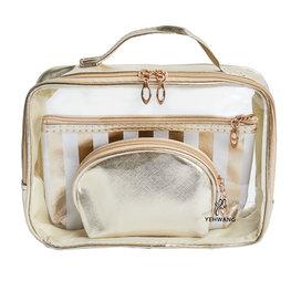 Make-up tassen set 3 delig - Wit/Goud