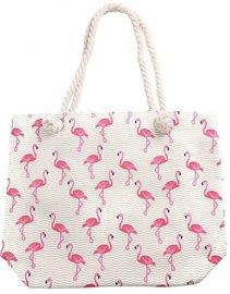 Strandtas flamingo zigzag