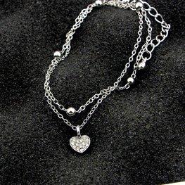 Enkelbandje dubbel heart - Zilver