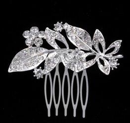 Haarkam leaves - zilver