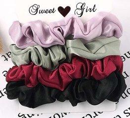 Scrunchie set 4 stuks - Rood/zwart/groen/roze