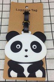 Bagage label/luggage tag panda zittend