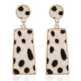 Oorbellen leopard skin zwart/wit