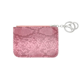 Mini portemonnee smooth snake skin met sleutelring - Roze