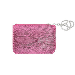 Mini portemonnee smooth snake skin met sleutelring - Fuchia