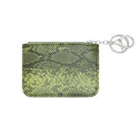 Mini portemonnee smooth snake skin met sleutelring - Groen