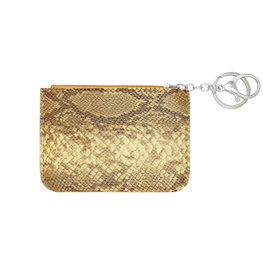 Mini portemonnee smooth snake skin met sleutelring - Geel