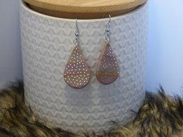 Handmade druppel oorbellen - multicolor glitter