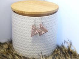 Handmade  oorbellen driehoekjes - multicolor glitter