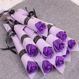 Zeep roos in verpakking - Paars