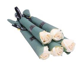 Zeep roos in verpakking - Wit
