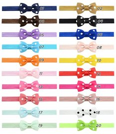 Baby/Kinder haarband elastisch stippel strik - Diverse kleuren