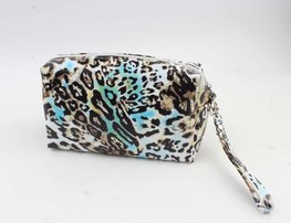 Toilet/make-up tas - Turquoise luipaard