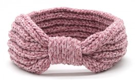 Knitted bow headband - Vintage roze