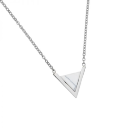 Armband marble triangle - Wit/Zilver