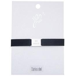 Armband be brave - Zwart/Zilver
