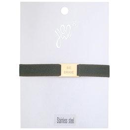 Armband be brave - Groen/Goud